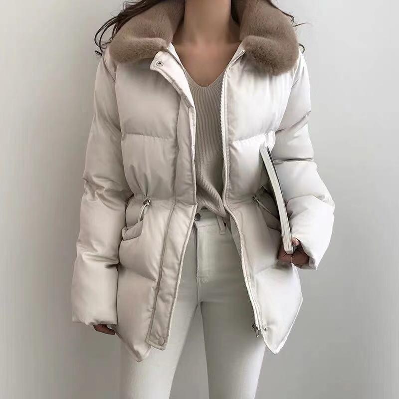 小個子修身棉衣2019新款女冬蓬蓬短款面包服棉襖抽繩收腰棉服外套