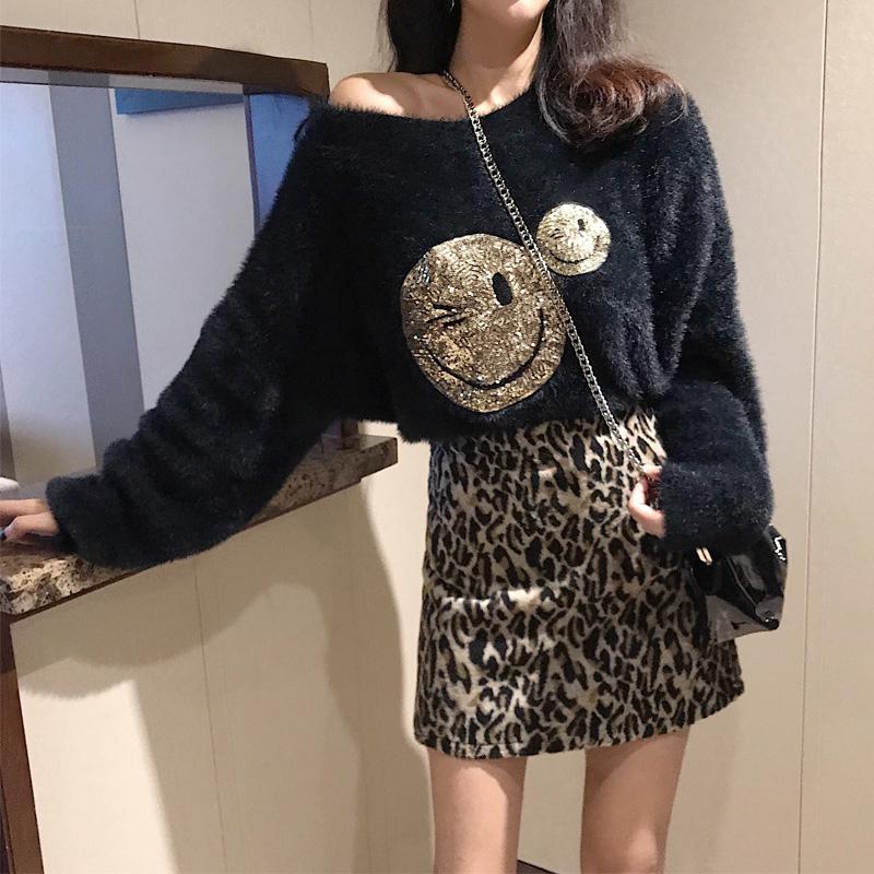 韓版亮片珠片笑臉微笑顯瘦苗條T恤+高腰閃亮包臀半身裙