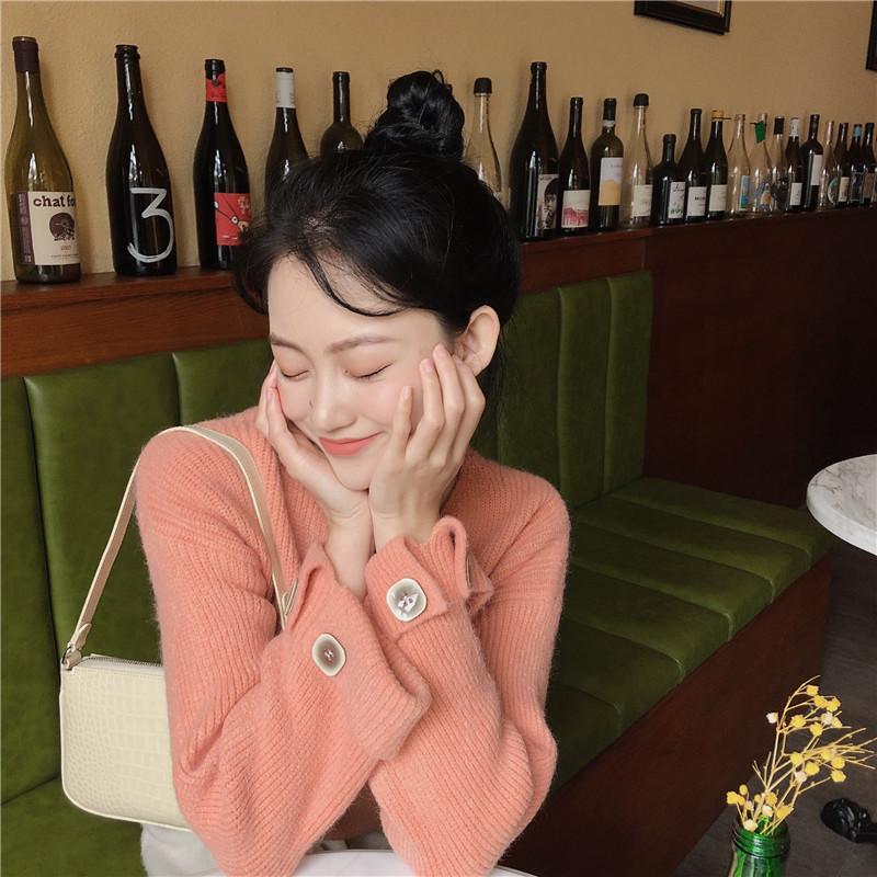實拍實價 控價5 韓版慵懶V領糖果色套頭長袖針織毛衣