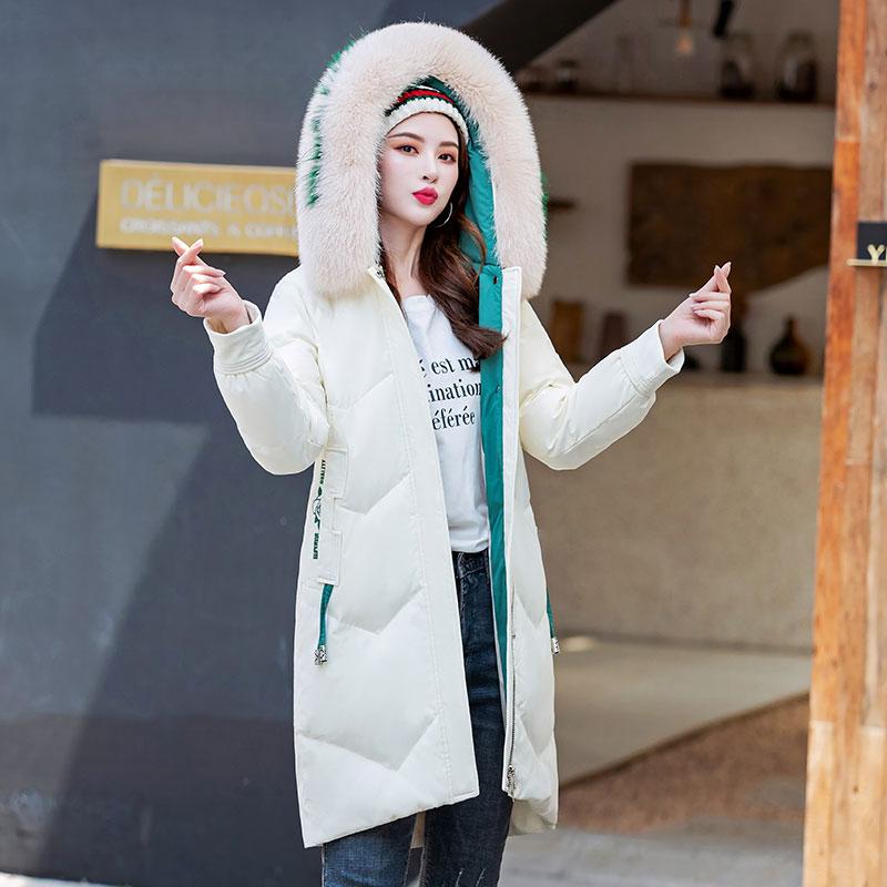 不退換冬新款真狐貍毛領羽絨服女中長款顯瘦修身氣質加厚羽絨外套