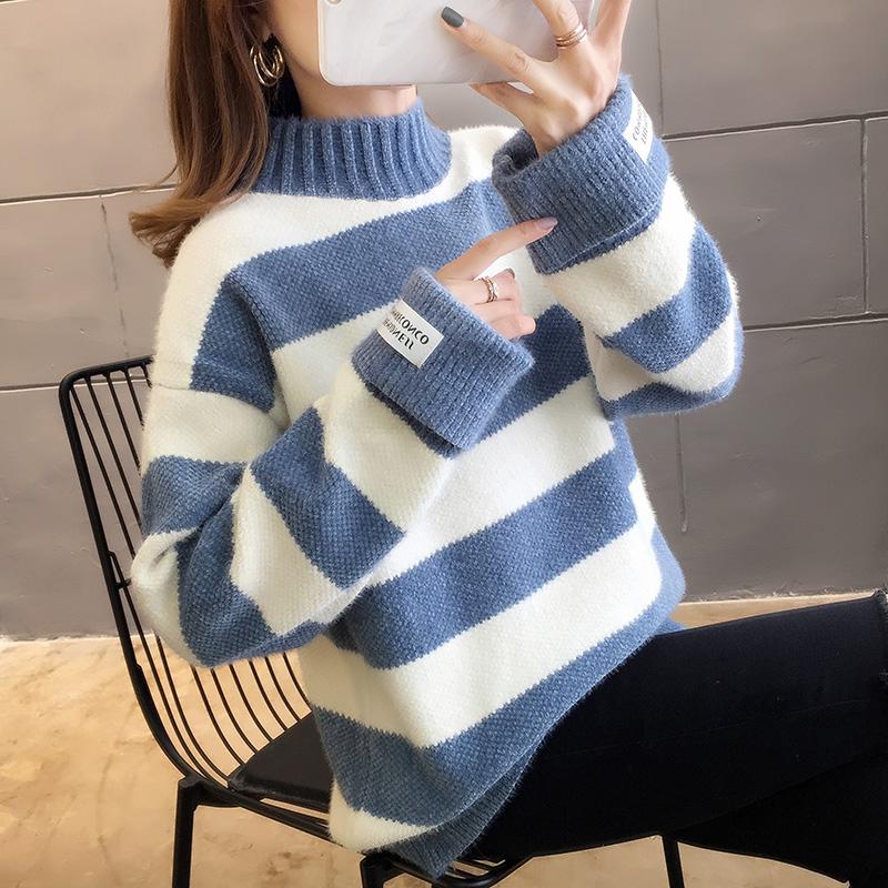 2897#實拍好質量秋裝2019韓版網紅拼色條紋長袖針織毛衣女裝