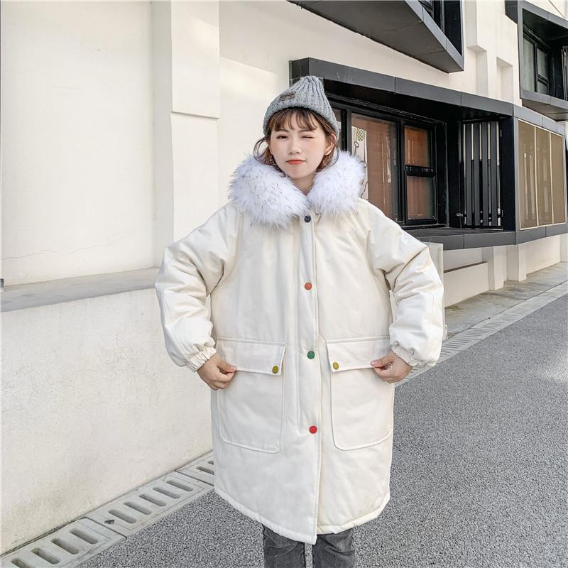 实拍冬装新款中长款棉衣宽松大毛领加厚刺绣夹棉ins棉服外套棉袄