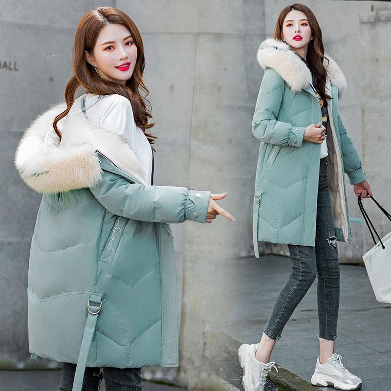不退換冬羽絨服女中長款時尚新爆款超大狐貍毛領休閑顯瘦保暖外套