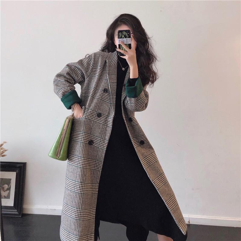 實拍實價 控價5 冬季新款撞色袖口經典格子加厚夾棉大衣外套