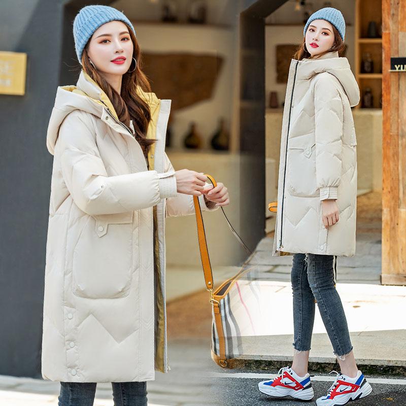 不退換羽絨服女中長款時尚休閑連帽加厚白鴨絨防風保暖外套