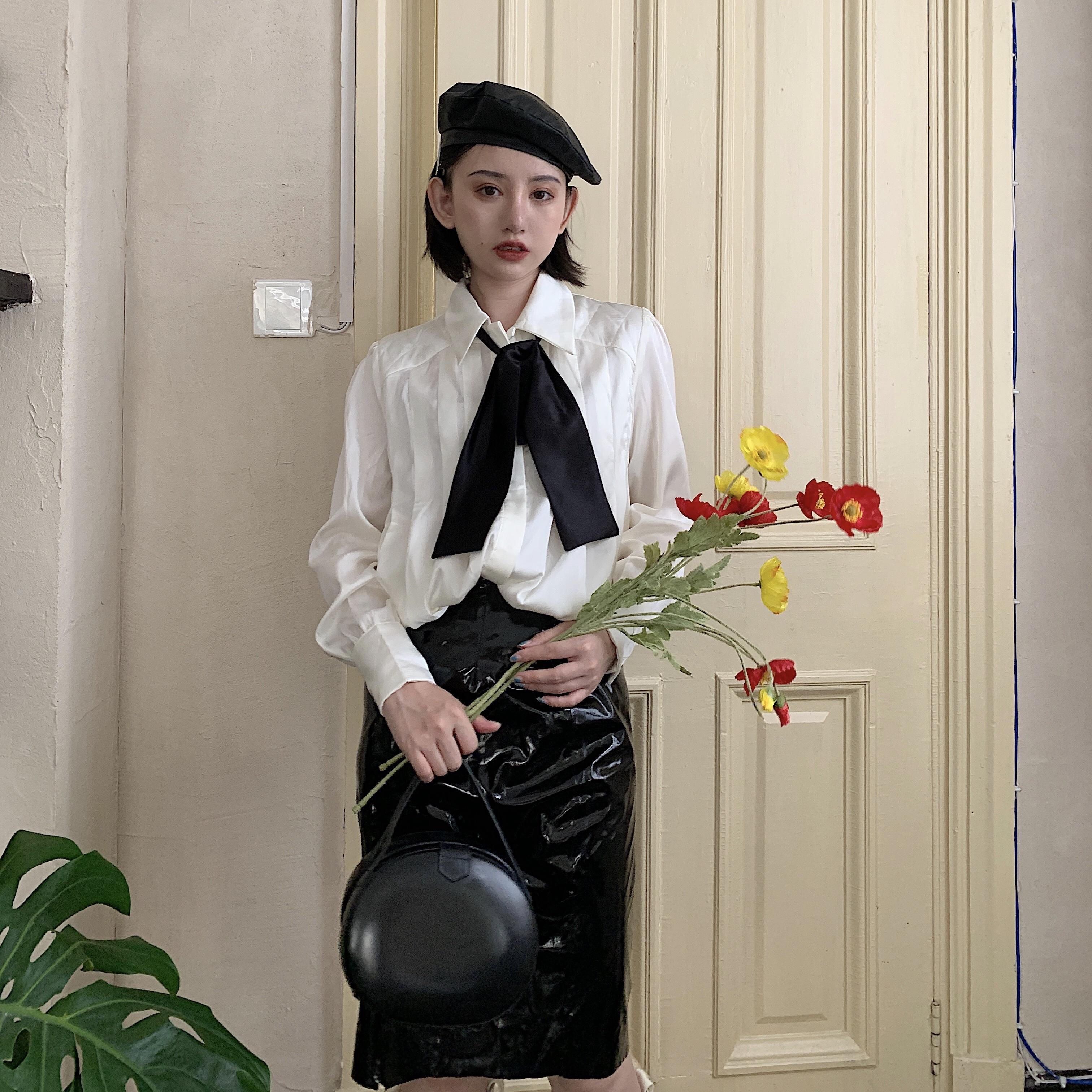 实拍实价 白色雪纺衬衫秋季新款2019女宽松领带长袖上衣气质衬衣