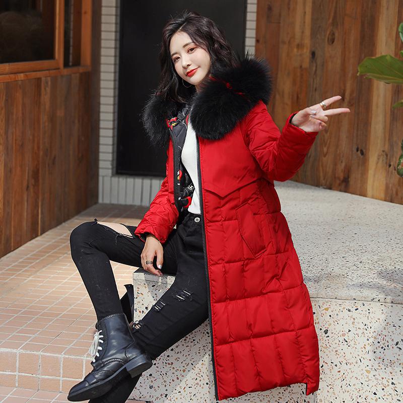 實拍2019冬新款兩面穿連帽中長款加厚大碼顯瘦冬季羽絨女棉服