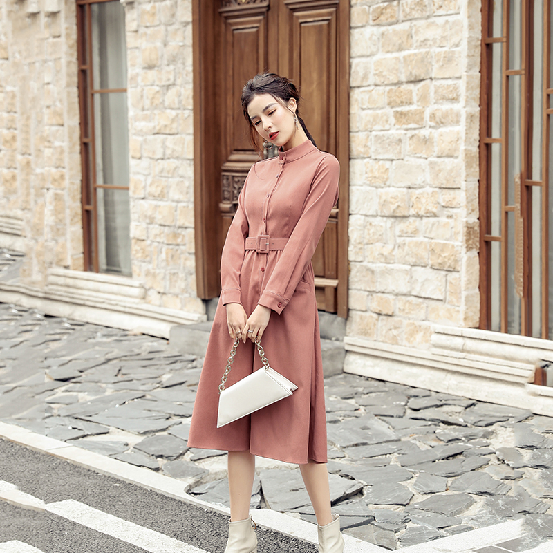 实拍 两色/2019年秋新款衬衫式长裙法式复古裙子收腰显瘦气质长袖
