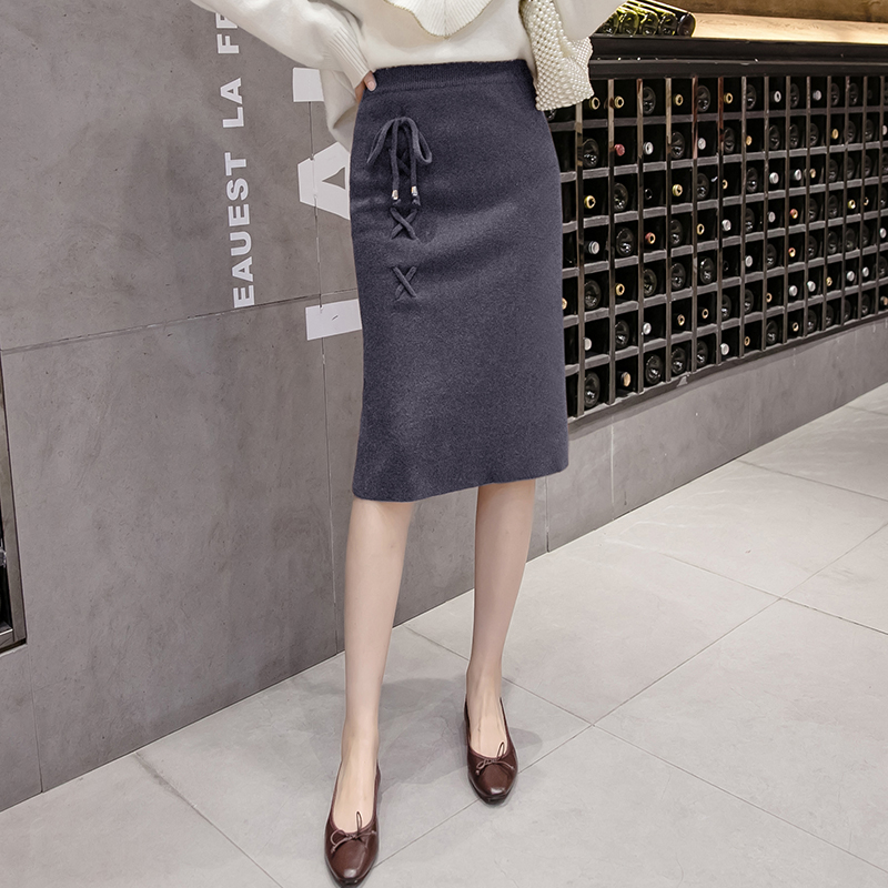 水貂絨半身裙2019秋冬新款韓版針織裙高腰修身包臀短裙開叉一步裙