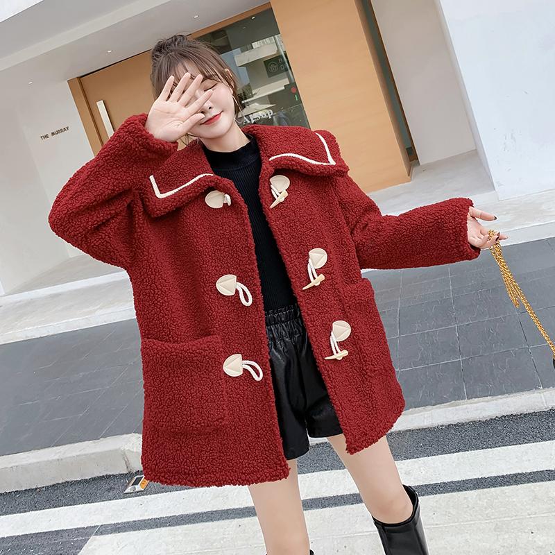 紅色羊羔毛牛角扣外套女短款秋冬季2019新款百搭加厚毛絨小棉襖潮