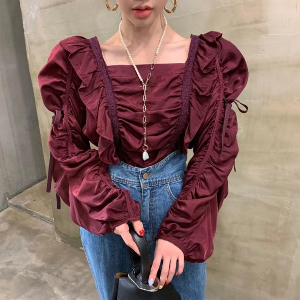 巨美葡萄紫方领褶皱套头衬衫