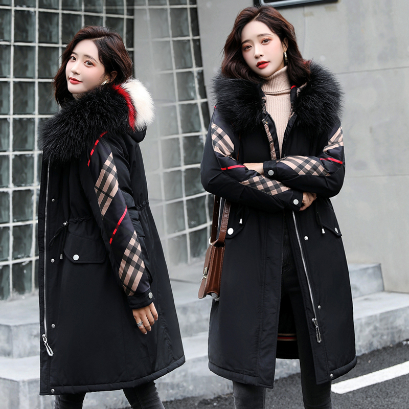 實拍毛內膽2019冬韓版中長款寬松加厚棉衣派克服外套風衣棉服女