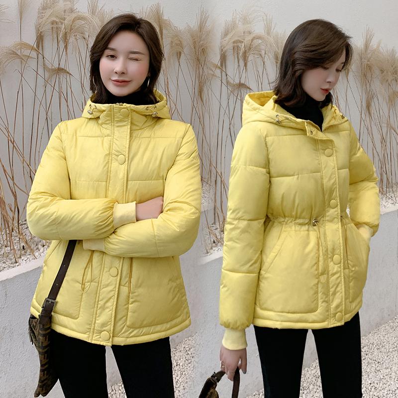 實拍棉衣女冬裝新款短款羽絨棉服時尚連帽純色收腰立領小棉襖外套
