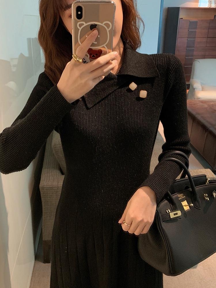 哺乳装外出秋冬打底针织过膝连衣裙喂奶连衣裙