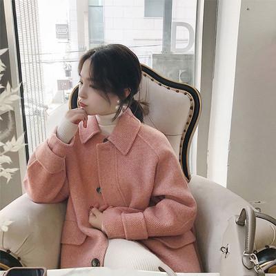 2019秋冬新款外套女羊绒过膝呢子大衣韩版宽松加厚中长款毛呢大衣
