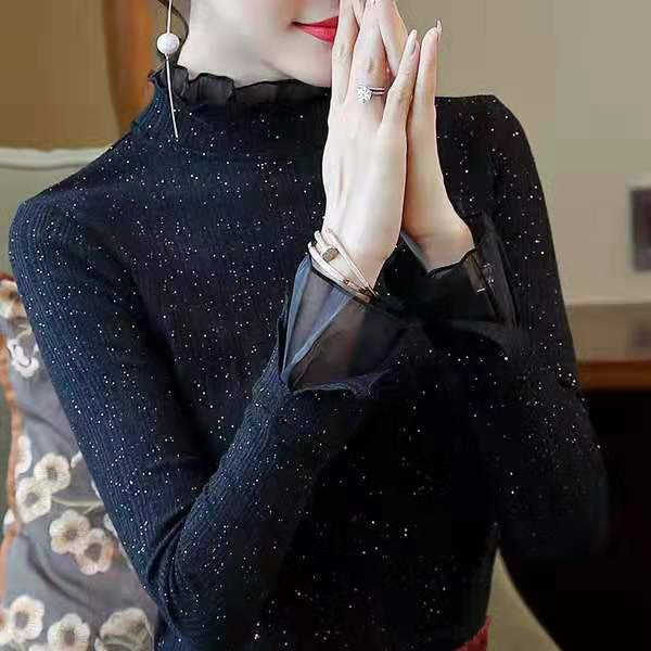 蕾絲高領毛衣女2019秋冬新款內搭打底衫長袖針織衫女洋氣薄款上衣