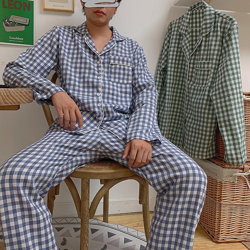 男款#實拍#情侶款#新品 簡約小格紋舒適睡衣家居服套裝