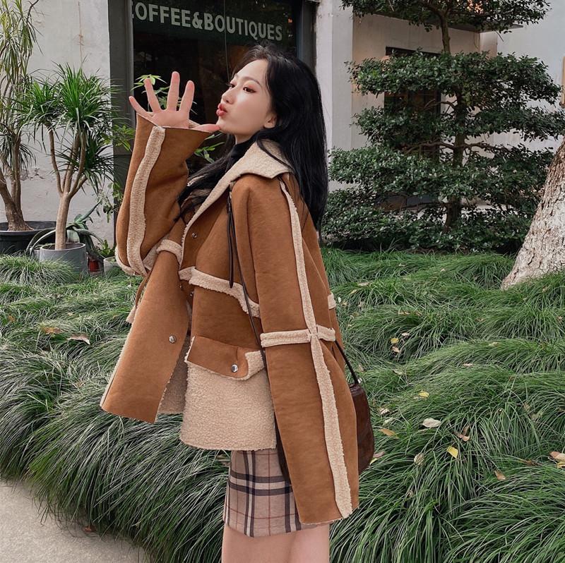 實拍實價 韓版可愛減齡正反兩穿羊羔毛領口系帶短外套