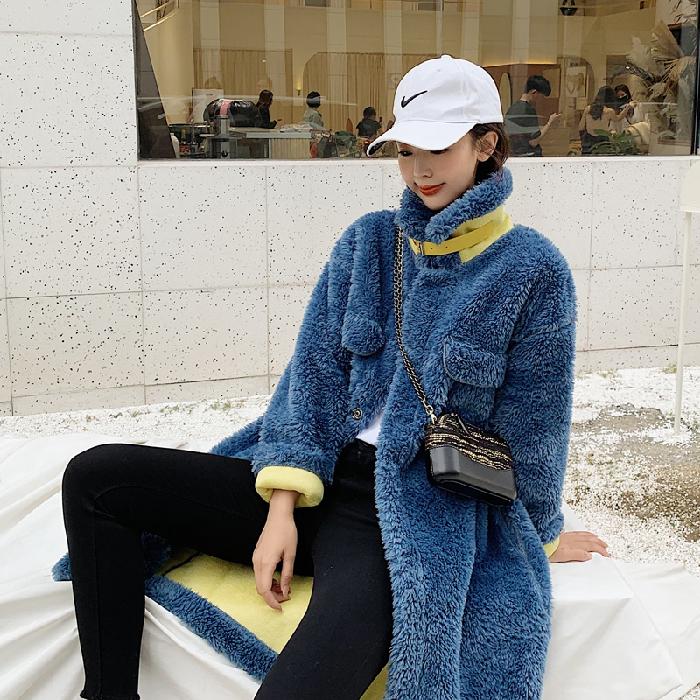 實拍新款羊羔毛 女皮毛一體顆粒絨拼色皮草外套毛呢棉服