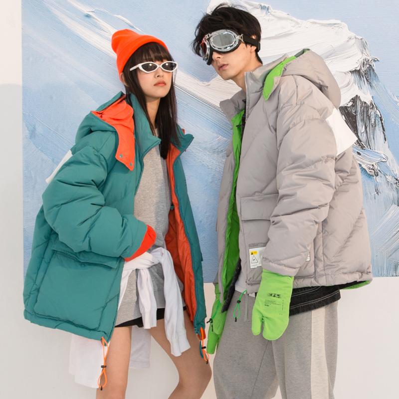 控148元 實拍冬季新款情侶戶外滑雪服寬松羽絨服女活帽加厚棉外套