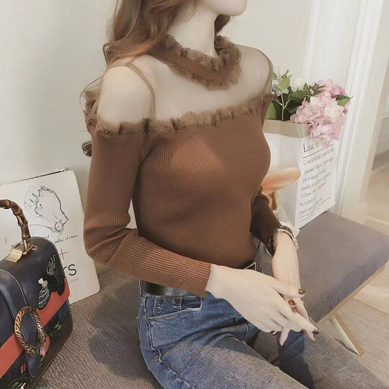 秋季新款名媛性感网纱透视露肩针织衫女修身显瘦蕾丝边打底毛衣