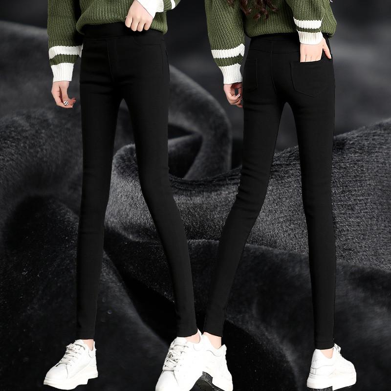9091#實拍加絨加厚海島絨新款韓版高腰修身顯瘦打底褲女小腳褲
