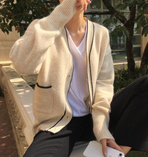 簡約線條拼色 側口袋 V領針織開衫外套