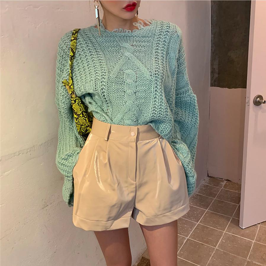現貨 時髦寬松鉤花邊燈籠袖套頭麻花紋理針織上衣