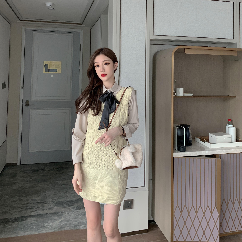 實拍實價 韓劇女主蕾絲蝴蝶結襯衫+馬甲毛衣