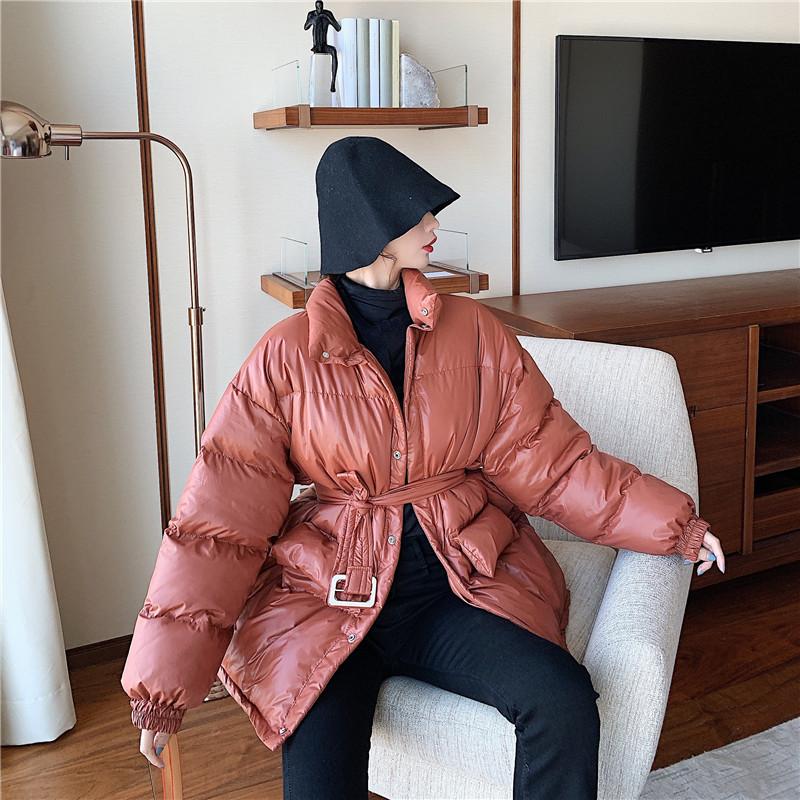 實拍實價 冬季新款慵懶寬松韓版立領收腰棉衣夾棉