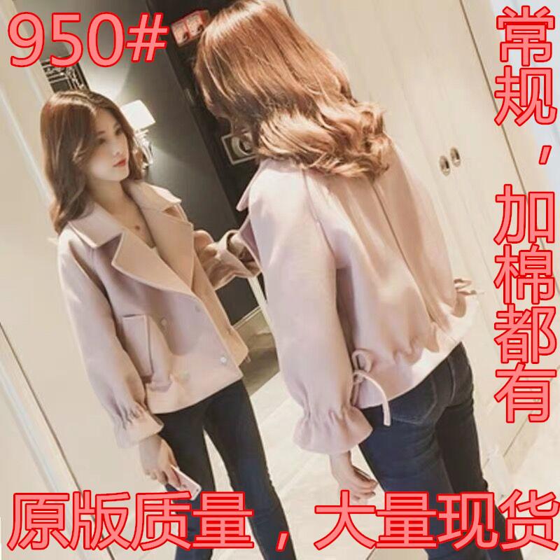 外套女2019春装新款韩版宽松学生小个子百搭毛呢外套短款收腰呢子