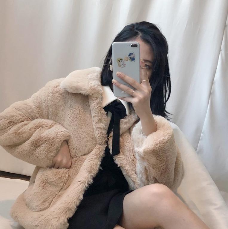 韓國 ins 秋冬仿水貂毛大衣短款加厚皮草人造毛環保外套