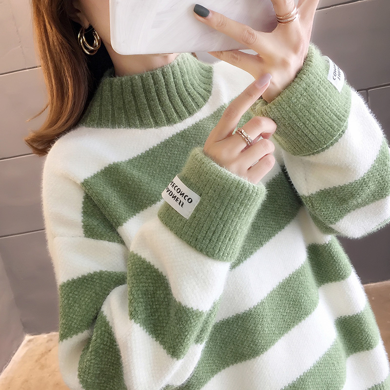 2897#實拍好質量秋裝新款韓版網紅條紋拼色小高領套頭毛衣女