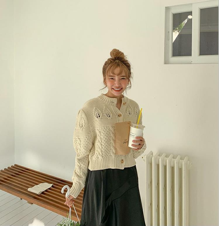现货!韩国短款圆领镂空麻花针织衫开衫毛衣外套