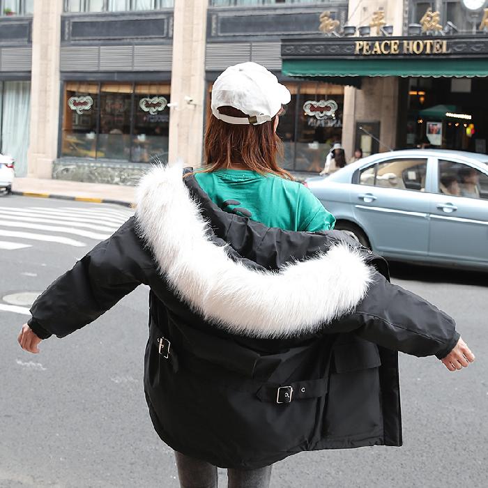 實拍19新款羽絨服大碼女裝 短款超火ins面包服bf棉衣胖MM外套網紅