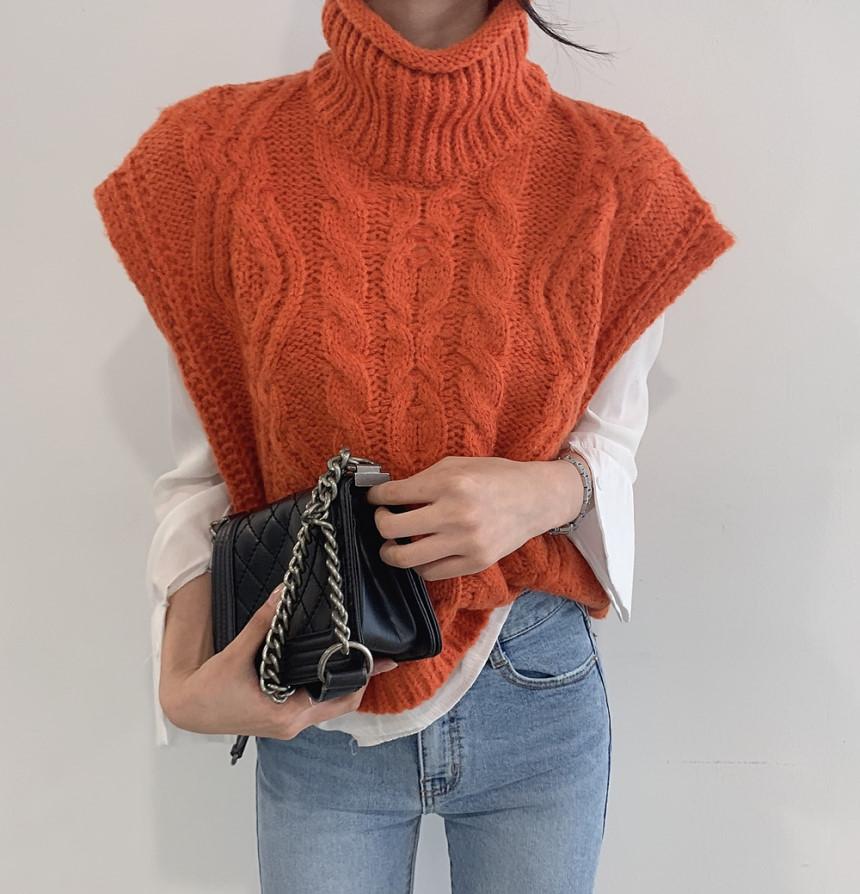 韓國chic溫柔短款高領麻花套頭毛衣