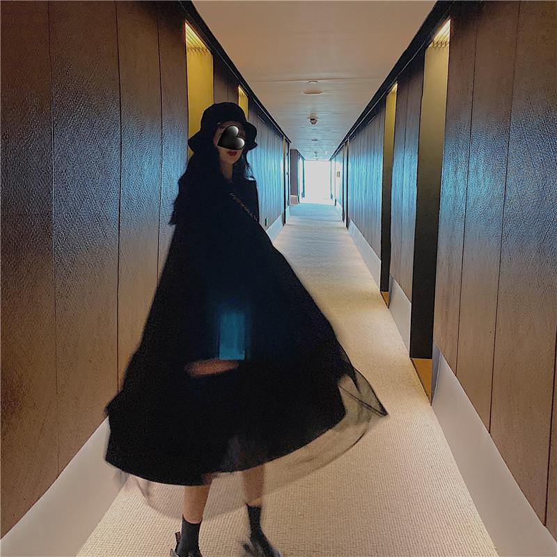 實拍實價 黑色中長款毛呢大衣外套+拼接打底網紗裙