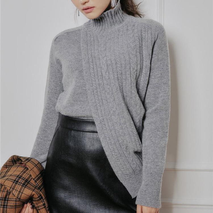 现货秋冬穿搭季节个性拼接不规则开叉摆 优雅韩国半高领针织毛衣