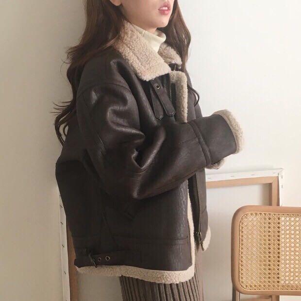 现货实价韩国复古皮毛一体 保暖宽松机车服外套夹克