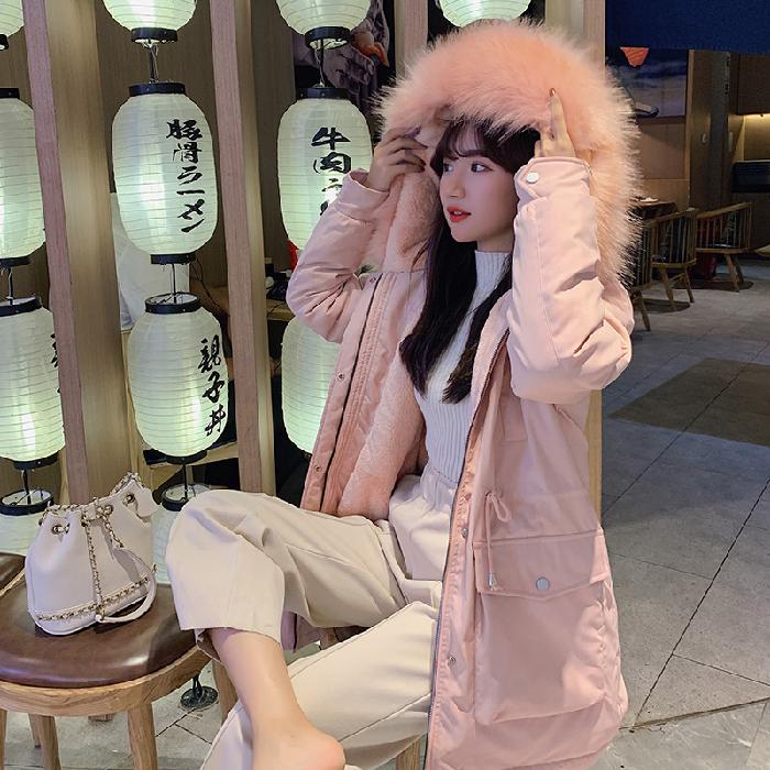 實拍2019羽絨服女短款寬松超火面包服內膽貂毛棉衣胖MM外套派克服