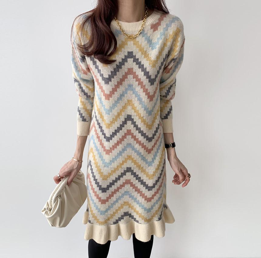 小香風彩虹波浪毛衣裙秋冬氣質魚尾荷葉邊針織連衣裙