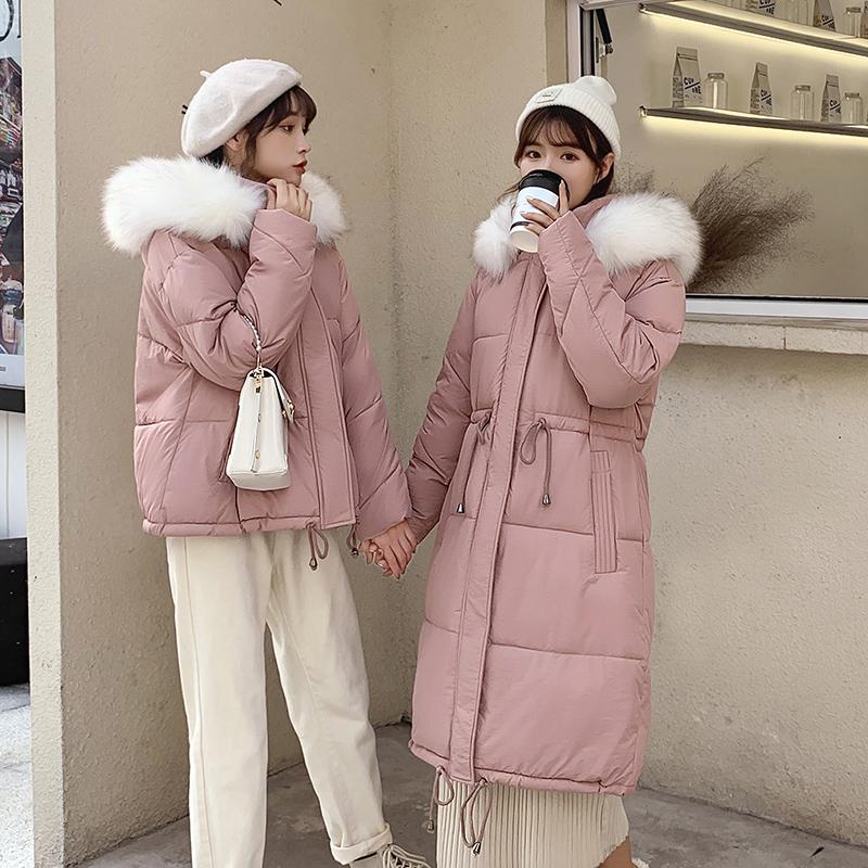 限價118元 實拍冬季棉衣網紅學生短款大毛領羽絨服女學院風棉服