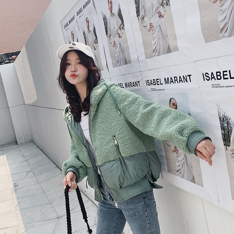 實拍冬季外套女短款2019新款韓版棉衣chic小棉襖顆粒絨羊羔絨棉服