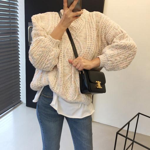 現貨 慵懶風菱形麻花紋彩線寬松針織毛衣線衫