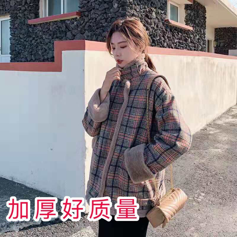 羊羔毛外套女短款秋冬裝2019新款韓版寬松加厚學生小個子毛呢棉衣