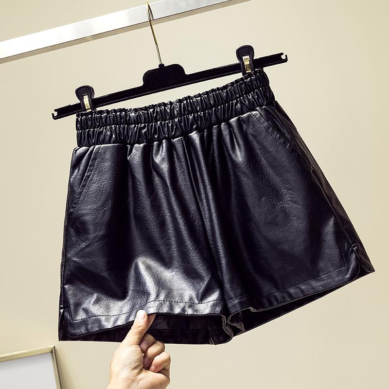 皮短褲女pu皮褲高腰顯瘦闊腿褲2019秋冬新款時尚寬松大碼女裝短褲