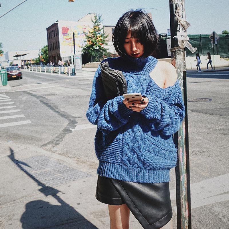 露肩高领套头毛衣女秋冬针织上衣宽松