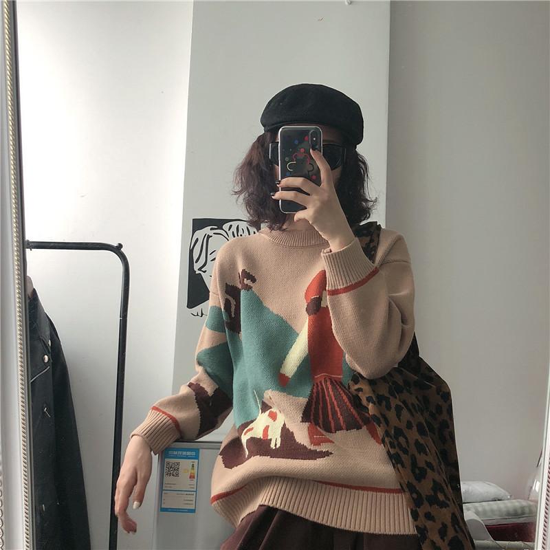 實拍實價 控價5 秋冬卡通慵懶風百搭ins套頭長袖針織毛衣