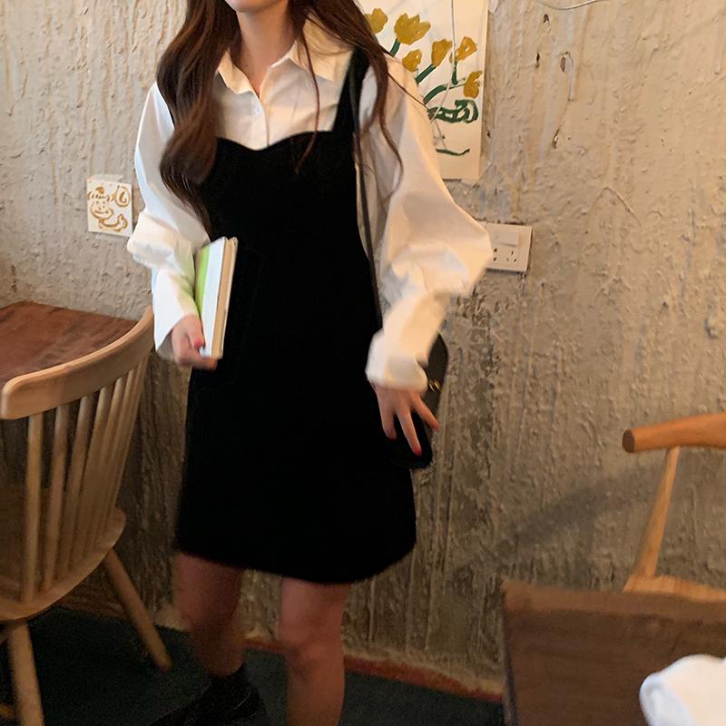 实拍实价韩版秋冬简约百搭丝绒背带连衣裙女+设计感白衬衫两件套