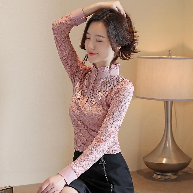 8053加絨加厚蕾絲打底衫女秋冬新款女裝韓版長袖高領百搭保暖上衣